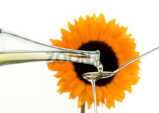 Speiseöl aus Sonnenblumenkernen mit Blume