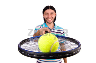 Man playing tennis isolated on white