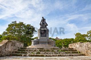Havana, Cuba - December 12, 2016:  Monument to Jose de la Luz y Caballero (1800–1862), Cuban philosopher and educator.