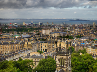 Aerial view over the Leith district of Edinburgh
