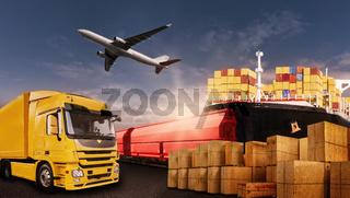 Warentransport mit LKW, Flugzeug, Schiff und Bahn