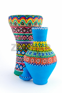 Colorful painted pottery vase and goblet drum