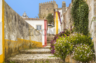 Footpath in The Medieval Town Of Obidos Portugal