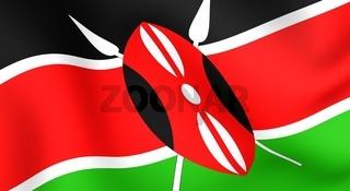 Flag of Kenya. Close up. Front view.