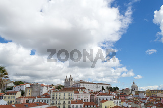 Views of the alfama from the Miradouro de Santa Luzia (Lisbon, Portugal)