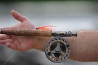 Angel mit Rolle zum Fliegenfischen