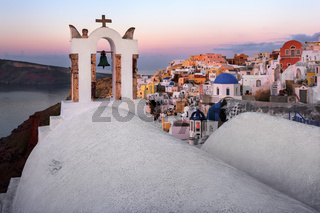 White Churches of Oia Village in the Morning, Santorini, Greece