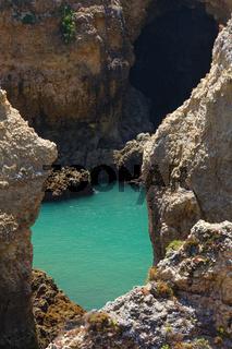 Atlantic rocky coast (Ponta da Piedade, Lagos, Algarve, Portugal).