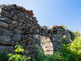 abandoned rural house after volcano Etna eruptio
