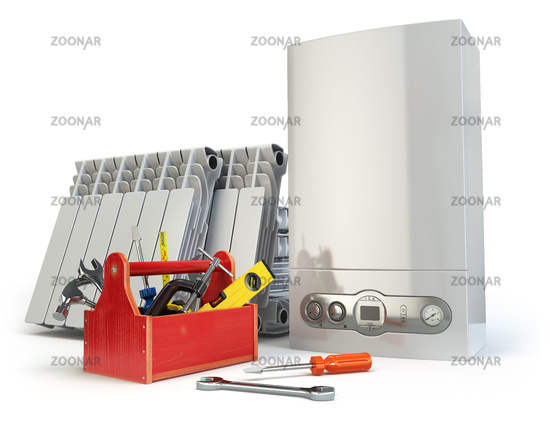 Heating system servicing or repearing concept. Gas boiler, radiators and toolbox with tools on the kitchen.