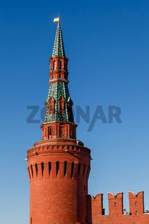 Beklemishevskaya (Moskvoretskaya) Tower of Kremlin and Kremlin Wall, Moscow, Russia
