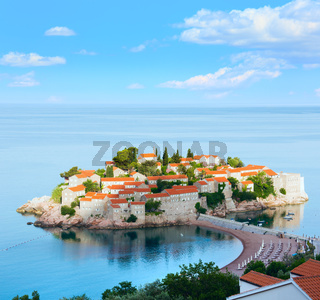 The morning view of   Sveti Stefan sea islet (Montenegro)