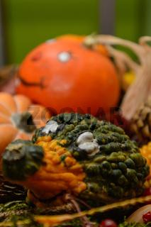 bunte Kürbisse als Herbstdekoration - Gesichter