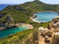 Zwillingsbucht Timoni bei Afionas, Insel Korfu, Griechenland