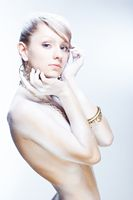 Glamourous white woman, high key