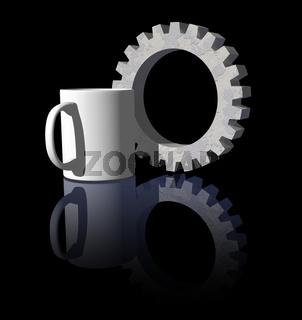tasse und zahnrad auf schwarzem hintergrund - 3d illustration