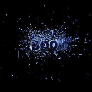 trümmerteile und das wort boom - 3d illustration