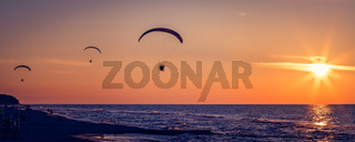 Paragliders flying at sunset