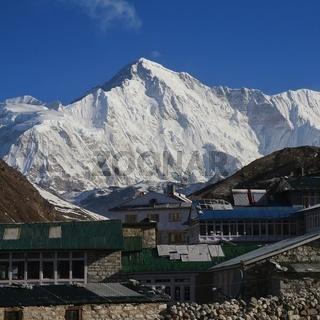 Village Gokyo and majestic mountain Cho Oyu, Mount Everest National Park, Nepal.