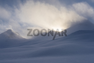 Landschaft im Schneetreiben, Stuor Reaiddavaggi, Lappland