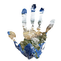 Real hand print combined with a map of Asia of our blue planet Earth. Elements of this image furnished by NASA