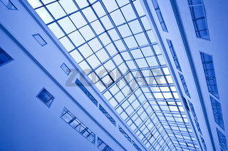 View to crop of blue ceiling trade center