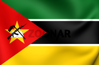 3D Flag of the Mozambique. Close Up.