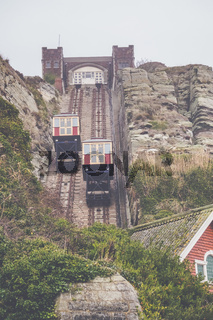 The East Hill Cliff Funicular cable lift Railway in Hastings