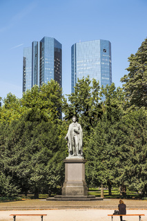taunusanlage, schiller-denkmal, deutsche bank zwillingstürme