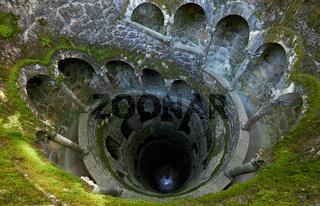The Initiation Wells (Inverted tower) in Quinta da Regaleira estate. Sintra. Portugal