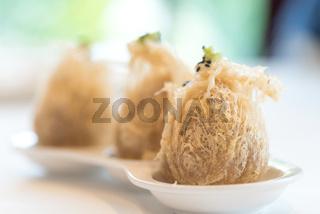 Fried taro dumplings.