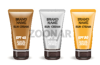Sunscreen cream realistic package set, isolated on white background. 3d tube, bottle mock-up for brand template. Vector illustration.