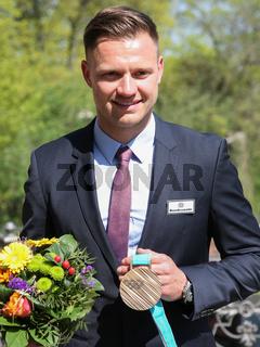 deutscher Doppelsitzer Rennrodler Toni Eggert mit Bronze Medaille von Olympische Winterspiele 2018