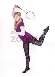 girl and badminton racket