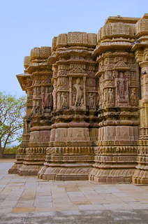Outer view of the Sun Temple. Built in 1026 - 27 AD during the reign of Bhima I of the Chaulukya dynasty, Modhera, Mehsana,  Gujarat, India