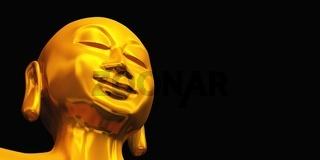 ZEN Buddha Gesicht Gold Schwarz 02