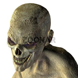 Zombie head with evil eye