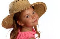 Girl wearing straw hat