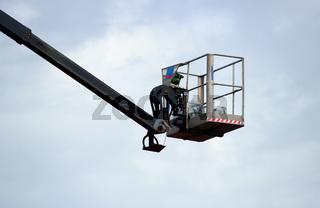 hydraulic lift heavy equipment machine is working