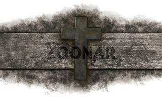 christliches kreuz auf altem holzbrett