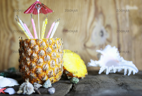 pineapple fruit with birthday candles