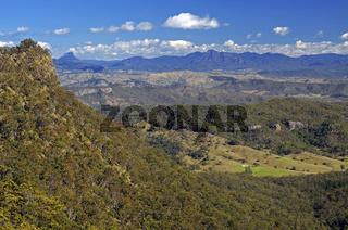 blick über die berge im lamington np, australien