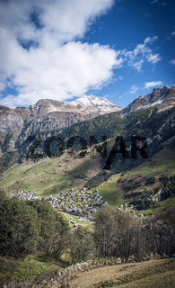 vals village alpine valley landscape in central alps switzerland