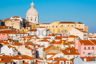 View of the Alfama Neighbourhood in Lisbon, Portugal, with colorful buildings National Pantheon