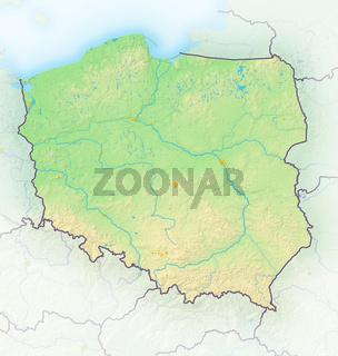 Polen , Reliefkarte.