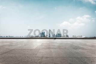 empty floor with cityscape of suzhou