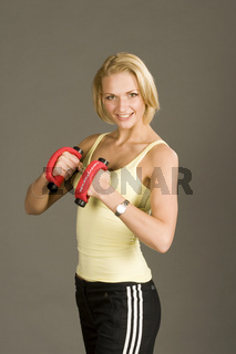Junge Frau beim Hanteltraining, Fitness, Young Woman, dumbell training