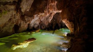 Interior view to grutas da moeda cave, Portugal