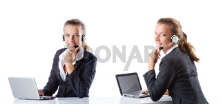 Call center assistant responding to calls