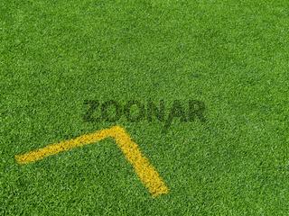Fußballplatz Detail Rasen & Pfeil